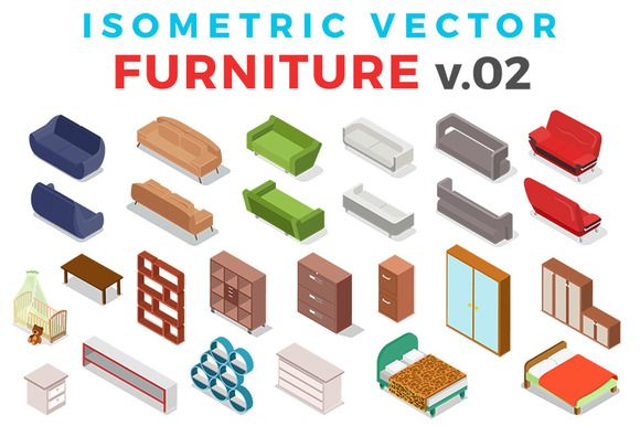 Vector Furniture Isometric Flat v.2 by Sentavio on @creativemarket