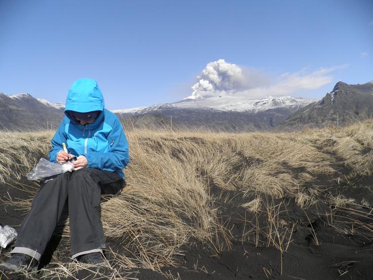 Dr Rhian Meara, Geologist, sampling volcanic ash during the 2010 eruption of Iceland's Eyjafjallajökull (Swansea University).