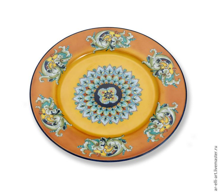 """Купить Фарфоровая декоративная тарелка. """"Италия"""" - разноцветный, фарфоровая тарелка, ручная роспись, декоративная тарелка"""