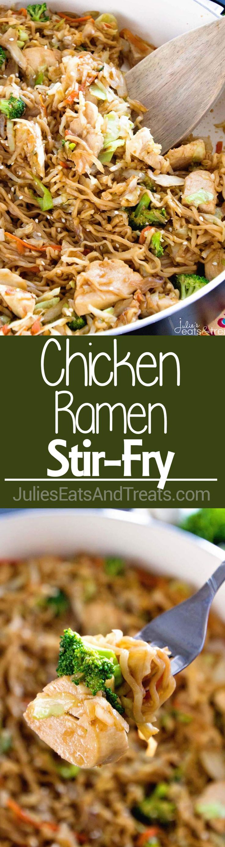 Chicken Ramen Stir-Fry ~ Easy, Delicious Weeknight Meal Loaded with Healthy Ingredients with the Addition of Ramen for a Fun Twist! On the Table in 30 Minutes! ~ http://www.julieseatsandtreats.com #TasteTruvia @truvia #ad