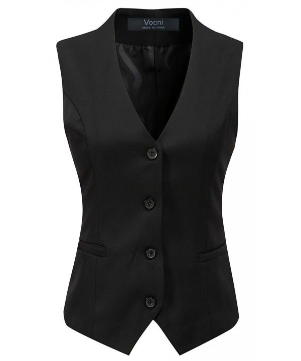 Women's Fully Lined 4 Button V-Neck Economy Dressy Suit Vest Waistcoat – Black – C3186AUA2QQ