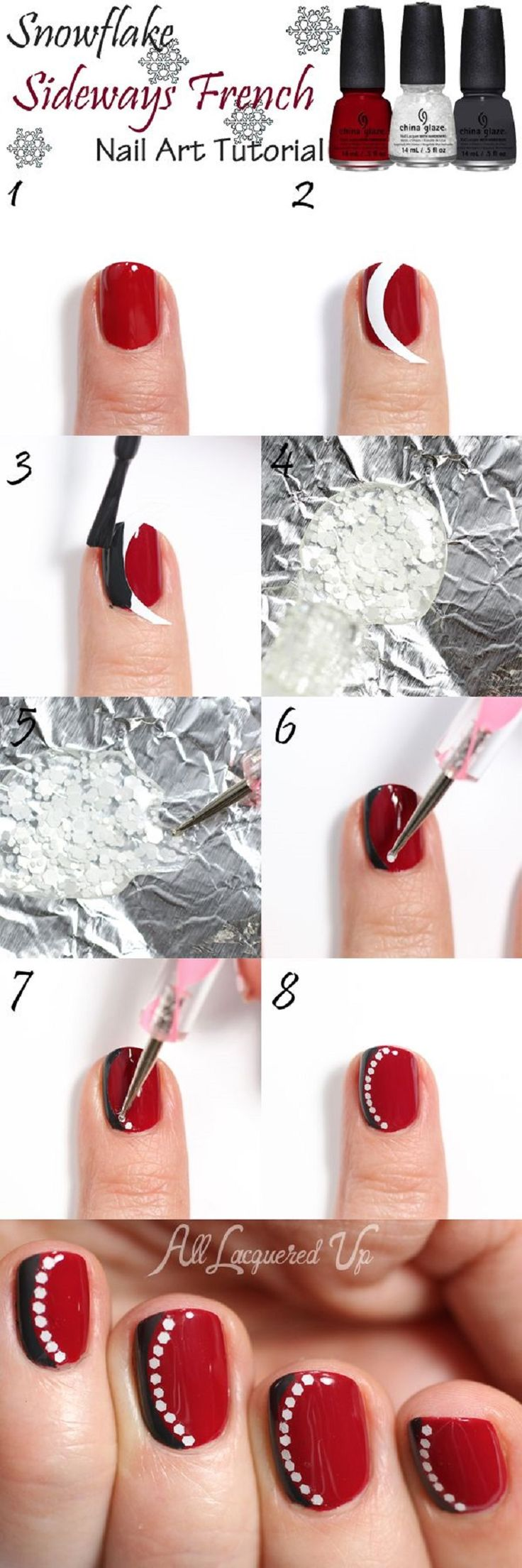 #Snowflake Sideways #French #Manicure #Nail #Art #Tutorial - 13 Wintery #DIY Nail Art Tutorials | GleamItUp