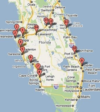 Springs In Florida Map.Grapefruit League Stadiums Florida Spring Training Map Favorite