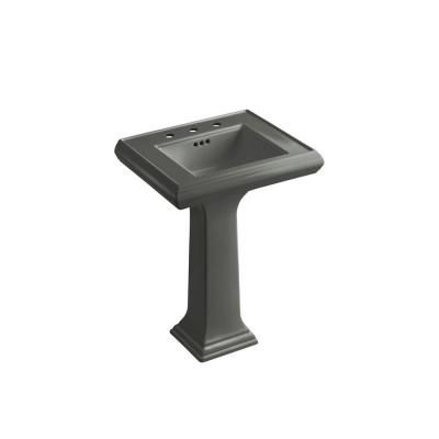 KOHLER Memoirs Ceramic Pedestal Combo Bathroom Sink In Thunder Grey With  Overflow Drain