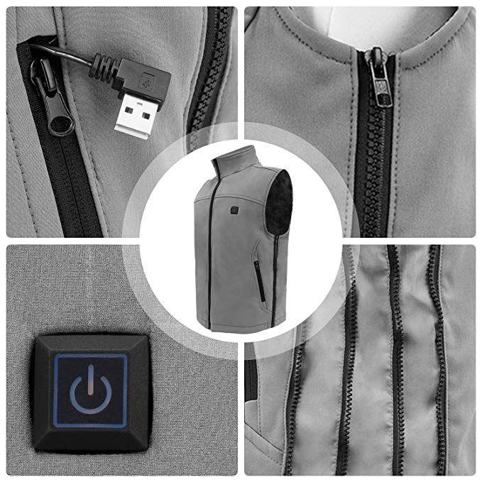 Vinmori Elektrische Beheizte Weste Waschbare Gr/ö/ße Einstellbar USB-Lade Erhitzt Polaren Fleece Kleidung Winter Warme Weste