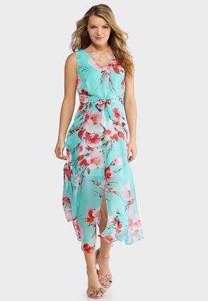 89f0d6c906f5 Petite Turquoise Floral Maxi Dress Junior/Misses Cato Fashions in ...