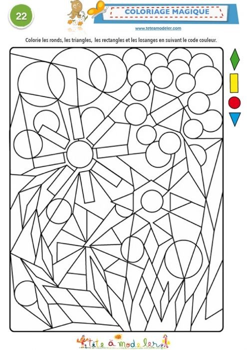 Shapes! Magic Coloring Page: Geometric shapes. Color the right shape, with the right color.
