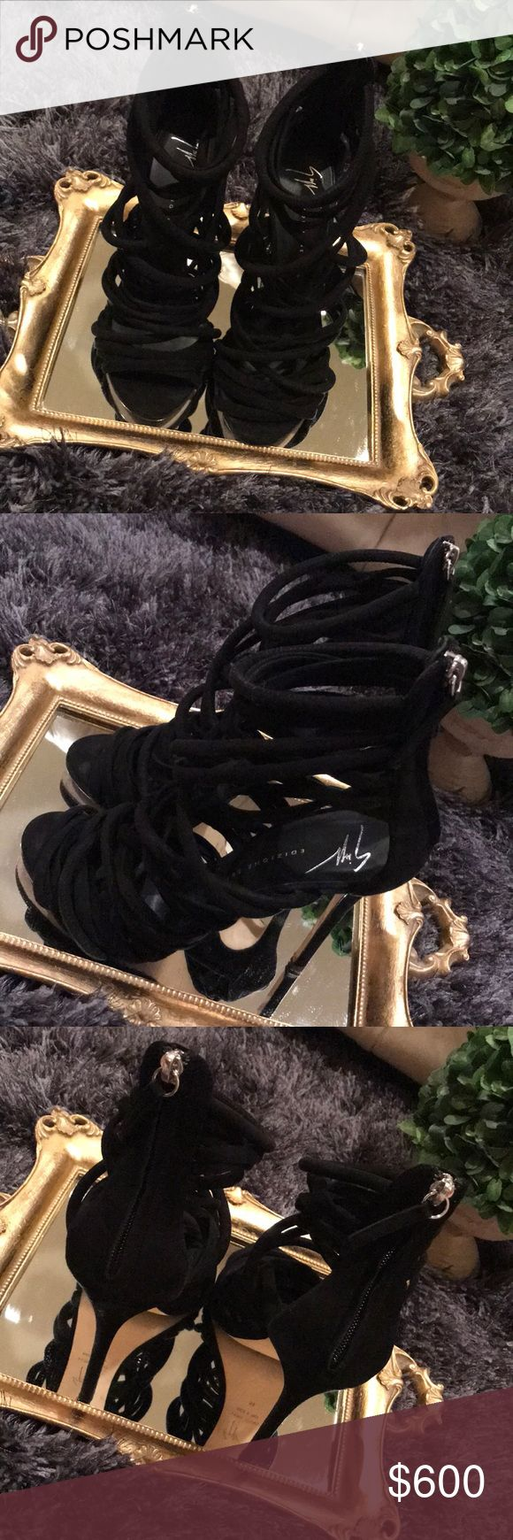 "✨Giuseppe Zanotti Design✨ Special Edition ""Runway"" Kanye West used these in fashion Show  Authentic/ pre-owned/ worn twice/ great condition Black Suede/ comes with box and dust bag Giuseppe Zanotti Shoes Heels #giuseppezanottiheelskanyewest"