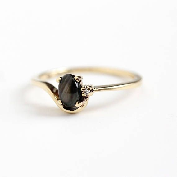 Vintage 10k Yellow Gold Genuine Black Star Sapphire & Diamond Ring - Retro 1970s Size 7 Oval 1/2 Carat Dark Gem Cabochon Fine Jewelry by Maejean Vintage on Etsy