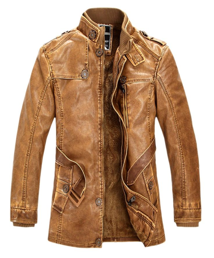 Chouyatou Men's Pu Leather Midlength Washed Trench Coat