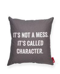 It's Not a Mess Grey Throw Pillow