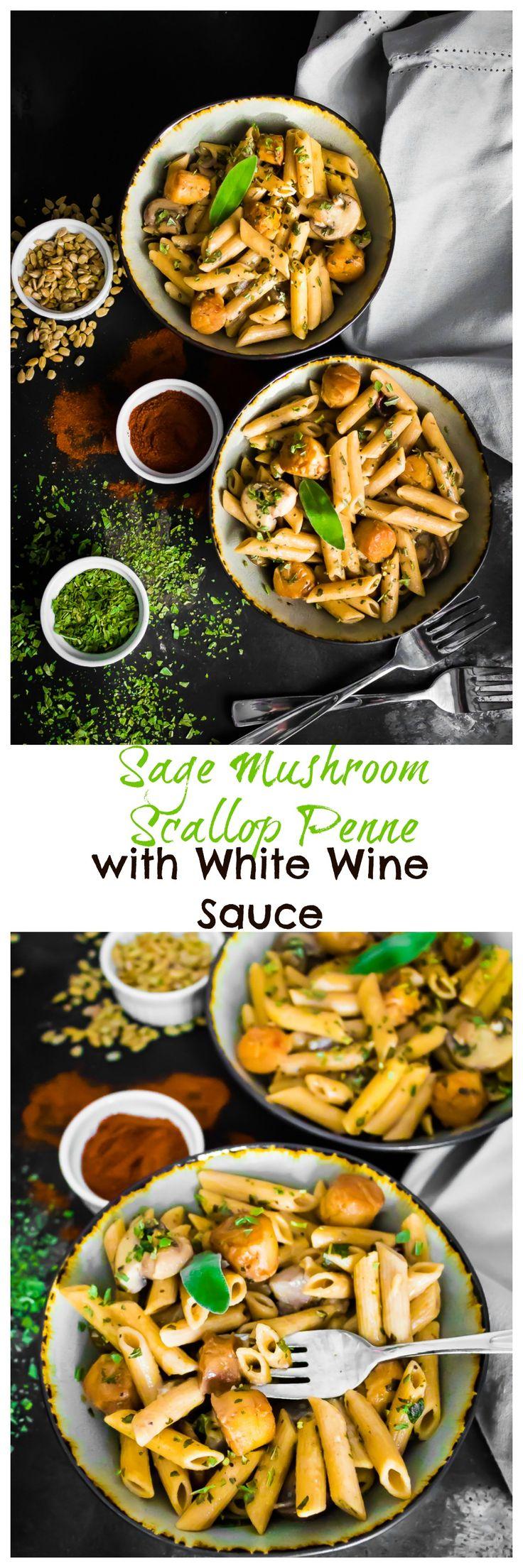 Sage Mushroom Scallop Penne with White Wine Sauce | recipes | recipe | fancy | dinner party | ideas | holidays | thanksgiving | christmas | festive | menu | pasta| Italian food | veggies |