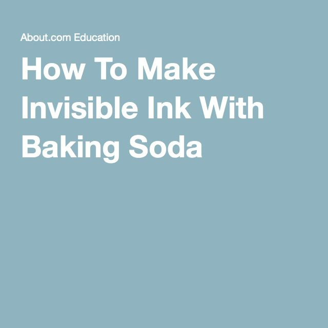 How To Make Invisible Ink With Baking Soda