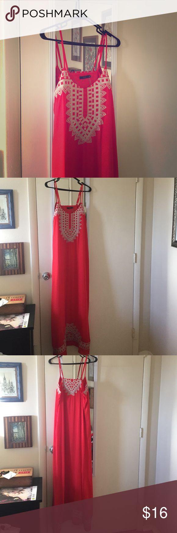Red/orange maxi dress THML size M Maxi dress, red color with ivory embroidery detail at the top and bottom of the dress. Size M, adjustable straps, lined to the thigh. Great dress, great shape, no damage, I just don't wear it much. THML Dresses Maxi