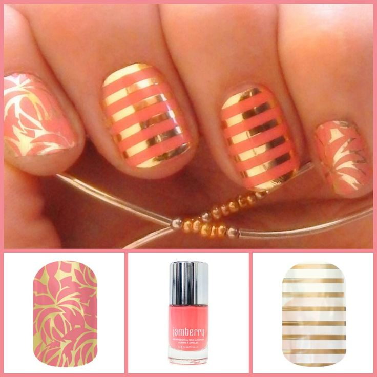 Another subtle Jamberry combination using Love Fern paired with Blush Lacquer and Metallic Gold Pinstripe.  www.jorear.jamberrynails.net