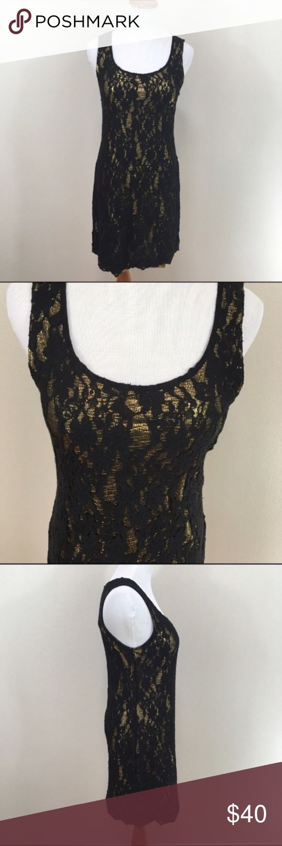 """NWT Miss Me Black Lace Gold Bodycon Dress NWT Miss Me Black Lace Gold Metallic Bodycon Dress Women's Small. Brand new with tags. Gold metallic underlay with black lace overlay. Stretch. Zip back. Clean and comes from smoke free home. Questions welcomed! Armpit to armpit: 15.75"""" Length: 33"""" Miss Me Dresses Midi"""