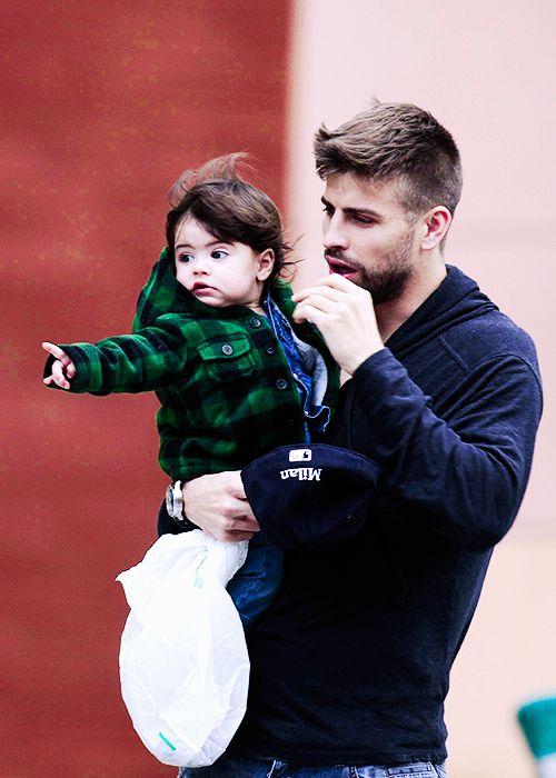 Gerard Pique and Milan Pique so cute!!
