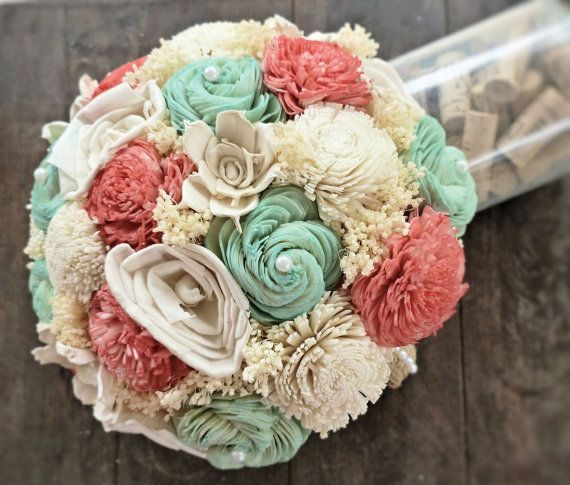 Natural Wedding Bouquet- Coral Mint Ivory Bridal