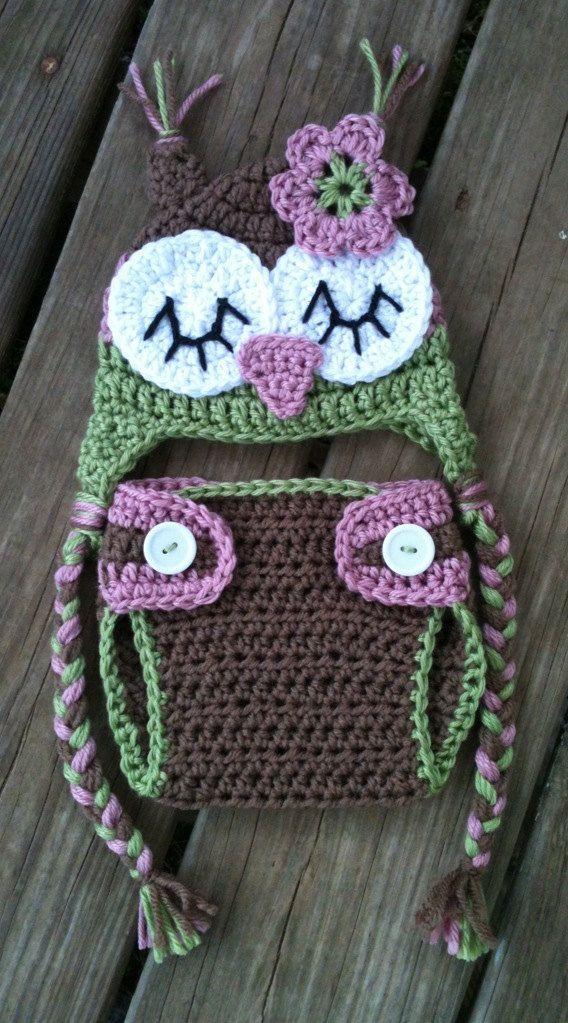 Newborn Baby Girl Sleepy Crochet OWL Rose PINK Green BROWN Diaper Cover -n- Beanie Hat Set -- Cute Photo Prop