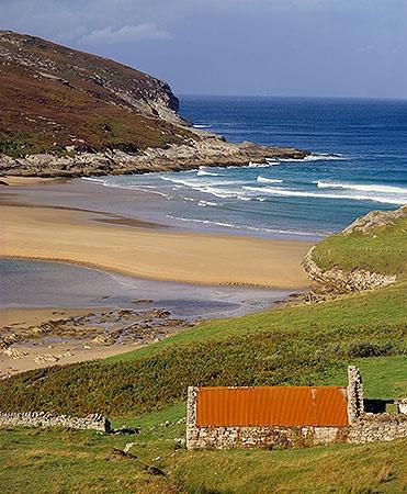 Farmland meets the Sea. Strathan, near Melness,Tongue, Sutherland, Highland, Scotland.
