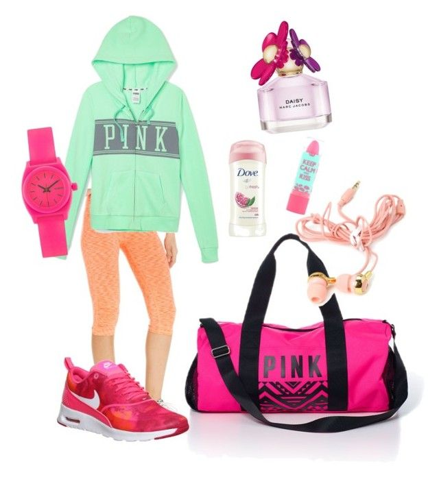 Fit and fab by shylastylez on Polyvore featuring polyvore, fashion, style, Victoria's Secret PINK, Calvin Klein, NIKE, Nixon, Forever 21, Marc Jacobs, Rimmel and Dove