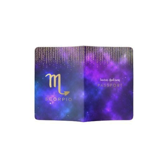 Scorpio Zodiac Sign - Purple Passport Cover Travel