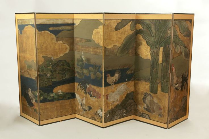 Japanese Painted Paper 6 fold screen