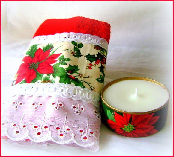 Toalha de lavabo com tecido floral de natal, bordado ingles, passafita e fita. Acompanha lata reciclada com vela aromatizada, R$ 48,30