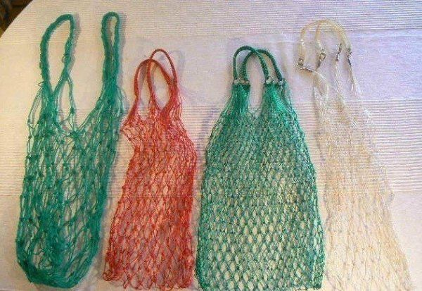 bag, made from plastic strings. All small stuffs plomped out....