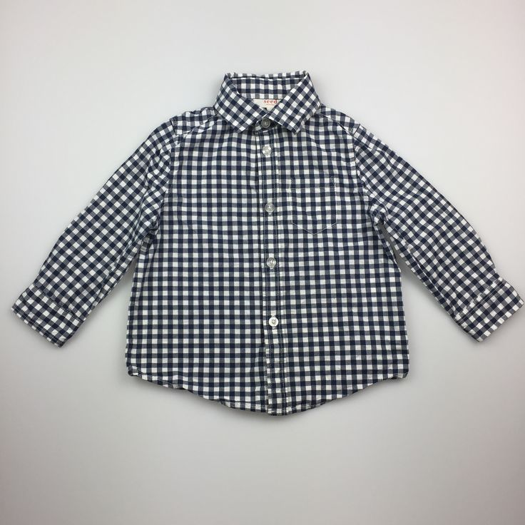 SEED, long-sleeved, black and white checked shirt, good pre-loved condition (GUC), boy's size 1-2, $10
