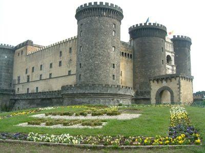 View of the massive and impressive Angioino Castle
