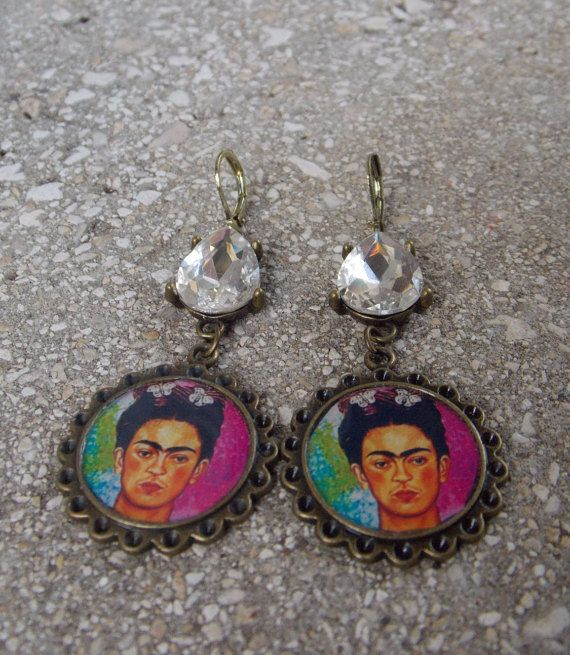 Frida Kahlo bling image earrigns colorful by LaCraftyVida on Etsy