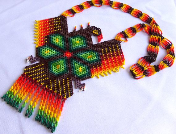 Huichol Beaded Eagle and Peyote Necklace by Aramara on Etsy