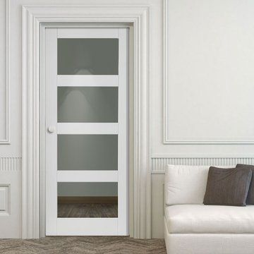 JB Kind Cayman White Primed Door with Clear Safety Glass