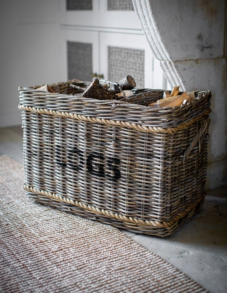 This Log Basket with rustic rope detail is a lovely way to store wood by the fire and looks great in both contemporary and traditionally styled homes.