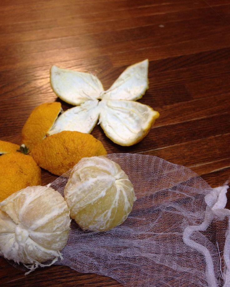 ねぇ知ってる 柚子湯には皮をむいて身だけ入れるとピリピリしないんだよお湯もトゥルットぅル #お風呂time #ゆず湯 #あったまるぅ #柑橘系のアロマ成分は皮に