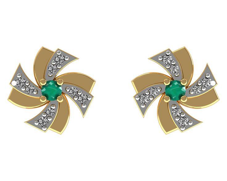 Emerald Stud Earrings 18k Yellow Gold Certified Diamond Anniversary Gift Jewelry