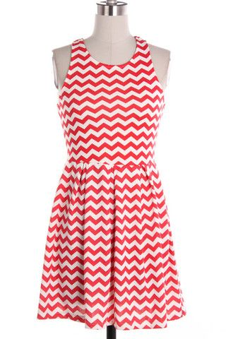 Coral and white chevron dress