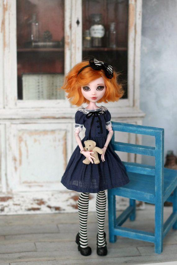 Vestido retro de Monster High / siempre después de alto y mismo muñecas tamaño 1/6