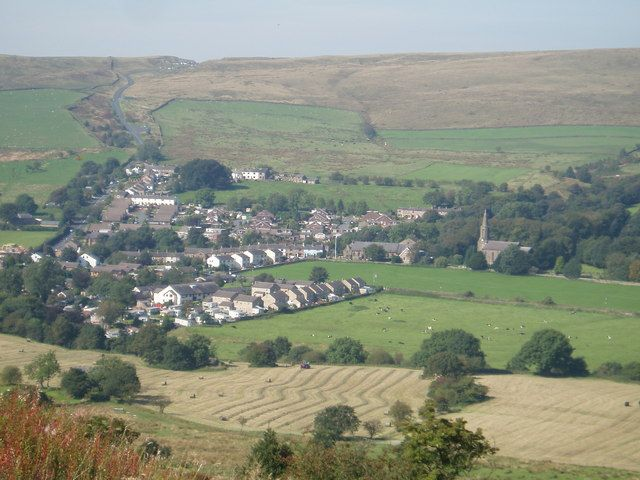 """Sabden Village near Clitheroe - the village of Sabden as seen from Back Lane. The road out of the village travels onto Clitheroe and is known locally as the """"Nick o Pendle"""" as it traverses the spine of the famous hill. This is the heart of Lancashire Witch Country. (credits: Mark Belshaw)"""