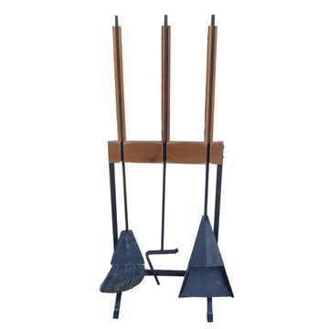 Stoke the fires of your Mid-Century obsession with this sleek set of Scandinavian fireplace tools. Crafted from teak and wrought iron, the three-piece set includes a shovel, poker, broom and stand.