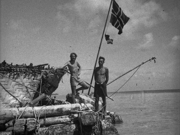 La Kon Tiki con la bandera noruega