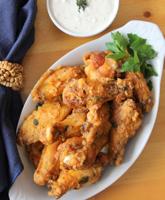 The garlic Parmesan chicken wings explode with flavor