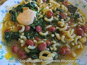 Sopa de feijão com espinafres, massa e ovo Ingredientes 1 molho de espinafres 1 molhinho de coentros Feijão cozido q.b. 4 de...