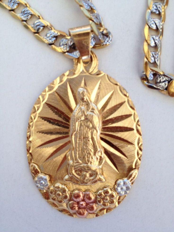 Virgen De Guadalupe Con Cadena O Rosario De Oro Laminado