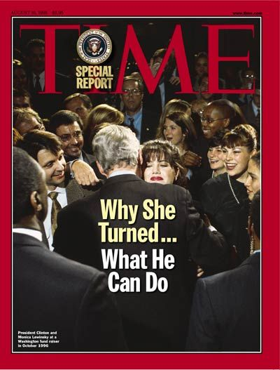 1998 - LEWINSKY SCANDAL.  President Clinton was impeached after an investigation found a sexual relationship between Clinton and intern Monica Lewinsky (22) in 1995.  One piece of evidence was Lewinsky's blue dress.