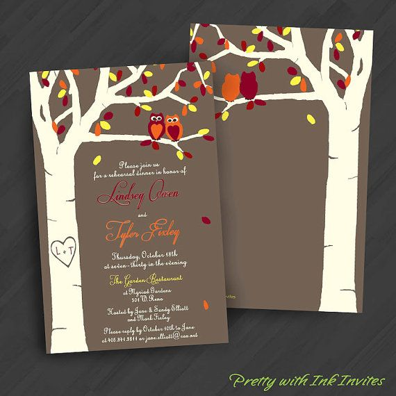 Love's a Hoot Fall Version Invitations for Engagement/Shower/Wedding/Birthday/Your Special Event (Shown in Red/Yellow, Teal/Red, Browns)