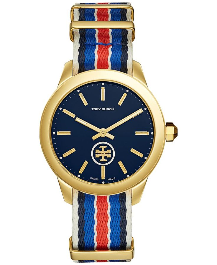 Tory Burch Women's Swiss Collins Multicolor Striped Fabric Strap Watch 38mm TB1212