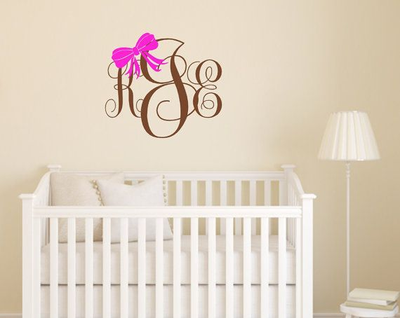 Preppy Monogram Bow Wall Decal Monogram Girls by LilSouthernGrace