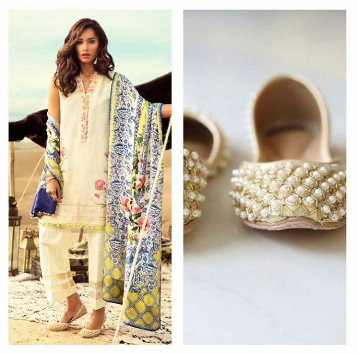 Pakistani lawn outfit by Élan. Pakistani khussay by Soma.